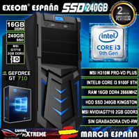 Ordenador Gaming Pc Intel I3 9100F 16GB DDR4 SSD240GB MSI GT710 2GB Windows
