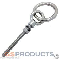 NEW STAINLESS STEEL (316)  10mm x 100mm LONG RING BOLT