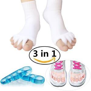 Unisex Toe Separator Alignment Socks Set, Therapeutic Gel Spacers Bunion Relief!