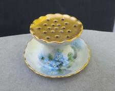 Antique Hat Pin Holder Hand Painted Flowers Signed A. E. Denny Gold Top Mint