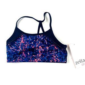 Zella Girl Blue Black Shatter Print Performance Support Sports Bra Sz M 8/20 NEW