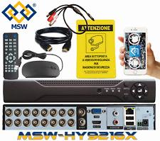 DVR NVR 16 CH Canali 5 Mpx / 3 Mpx / 1080P AHD IP Onvif P2P CLOUD Server Hybrid
