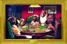 DOGS PLAYING POKER A BOLD BLUFF POSTER 36X24 NEW FREE SHIPPING