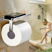 Bathroom Toilet Paper Holder Wall Mount Stainless Steel with Phone Storage Shelf