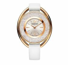 Swarovski Women's Leather Band Rose Gold Plated Case Quartz Watch 5230946