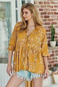 Jaase Women's Chloe Top Rio print Generous sizing oversized Marigold Yellow