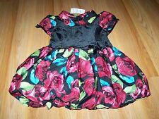 Toddler Size 3T The Children's Place Floral Rose Bubble Hem Dress Black Velour N