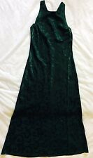 BE SMART Juniors M Green Formal Maxi Dress Floral Vine Sheen Pattern Sleeveless