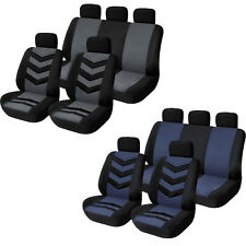 Universal 9Pcs Front Back Car Seat Covers Full Set Fabric Auto Mat Protector