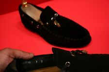 $729.00 ! ! GUCCI  MEN'S BLACK SUEDE ICONIC WOODEN BITS LOAFERS  MARKED SIZE 7 D