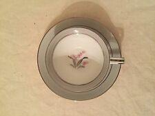 Noritake China Cup & Saucer - Lily of the Valley - #5556 - Silver Pink