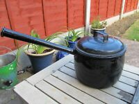 ANTIQUE JUDGE BRAND 7PT BLACK ENAMELLED LONG HANDLED SAUCE PAN GYPSY ROMANY