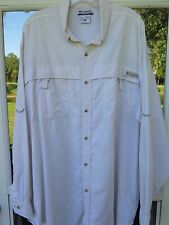 Columbia PFG Men's Long Sleeve 100% Nylon UPF 30+ Beige Vented Fishing Shirt XL
