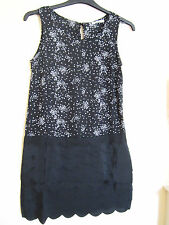 LADIES LOVE HEART SCALLOP HEM LAYERS SKIRT SHIFT DRESS SIZE S BLACK WORK SKATER