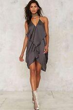 nasty gal If Anyone Falls Ruffle Dress - Gray medium new with tags