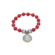 San Benito St Saint Benedict Medal Catholic Bracelet, Coral Quartzite Beads NEW