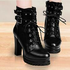 Lady Womens Fashion Buckle Side zipper ankle boots chunky high heel Shoes Pumps