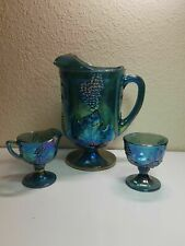 Indiana Carnival Glass Harvest Blue Water Pitcher Sugar Creamer