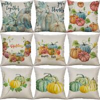 """18"""" Pumpkin Print Cotton Linen Sofa Cushion Cover Pillow Case Home Decor"""