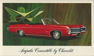 1969 Chevrolet Impala Convertible (Red) Dealer Promotional Postcard UNUSED VG+ ^
