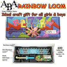 Loom Band Kit, loom hook with mini loom, rainbow coloured bands, clips