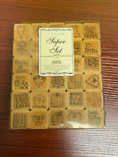 """Stamps Sewing Themed DOTS Stitched Super Set 30 Stamps 1"""" Square in Original Box"""