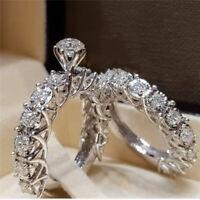 925 Silver Jewelry Women wedding Bridal Rings Set White Sapphire Size 6-10
