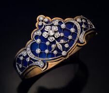 Belle Epoque Antique Blue Enamel Diamond Platinum Gold Bracelet