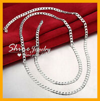 925 STERLING SILVER FILLED 4MM DIAMOND CUT FLAT CURB CHAIN NECKLACE MENS WOMENS