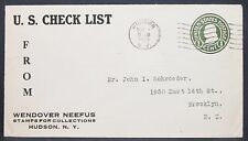 US Check List Postal Stationery Envelope Hudson 1925 1c GS USA Brief (Y-490