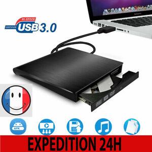 Lecteur CD DVD Externe Graveur USB 3.0 DVD Externe Portable RW/ROM Player Reader