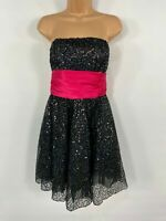 BNWT WOMENS LOOK BLACK/PINK SPARKLY SEQUIN BANDEAU FIT & FLARE PARTY DRESS UK 12