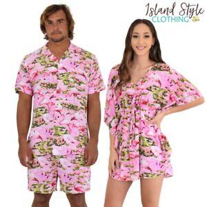 Pink Flamingo Ladies Kaftan + Mens Hawaiian Shirt & Shorts Set