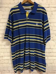 Chaps 2XLT Blue Yellow Stipes Short Sleeve Collared Polo Shirt Mens
