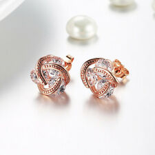 1 Pair Rose Gold Love Knot Stud Earrings with Crystals Made in ITALY
