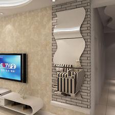 Chic 6pcs 3D DIY Removable Home Room Wall Mirror Sticker Art Vinyl Mural Decor