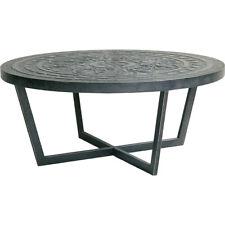 Black Round Coffee Table/Patterned top/ Metal Coastal Modern Industrial Design