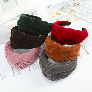 Lady Winter Velvet Headband Knotted Wide Hairband Sports Thick  Hair Accessories