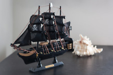 More details for handmade wooden sailing ship pirate boat black pearl model gift home decoration