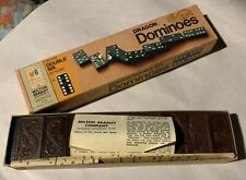 Vintage - Halsam Double Six Dragon Dominoes - 28 Pieces - Wood Colored Dot 1970