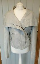 Vero Moda grey faux leather jacket size XL Mogana large collar side zip