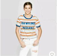 New STRANGER THINGS Hawkins Indiana Womens STRIPED Short Sleeve T-SHIRT XXL MAX