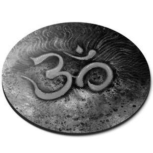 Round Mouse Mat (bw) - Om Yoga Symbol Hindu Buddhist  #36770