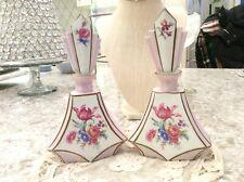 Vtg Pair Of Cico Bavaria German Perfume Bottles Deco Porcelain Flowers