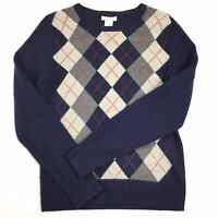 Tweeds Womens Small Blue/Gray Argyle Cashmere Pullover Crew Neck Sweater