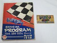 1949 Indy 500 Race Ticket Stub + Official Program 33rd Race, Bill Holland Winner