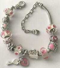 ❤️European CHARM BEADS BRACELET ~ PINK Beads w/ Sterling Silver Plated Chain❤️