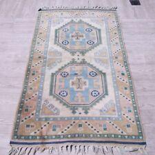 Vintage Handmade Bergama Area Rug 3x5 Turkish Geometric Authentic Wool Kilim Rug