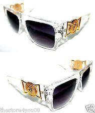Medusa Metal Gold Logo 424 Clear Frame Flat Top Sunglasses Vintage Style Flattop