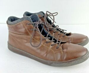ALDO Men's Brown Leather High Top Lace-Up Boots Size US 12 Pre-Owned